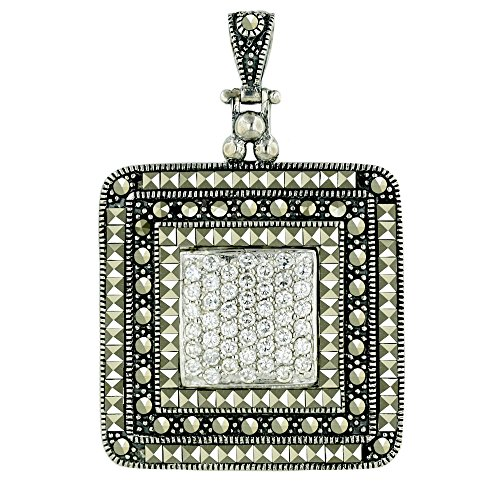 .925 Sterling Silver Jewelry Square Marcasite Pave with Clear CZ Cushion Pendant with 30