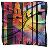 Psychedelic Paris Retro Eiffel Women's Fashion Print Square Scarf Neckerchief Headdress S