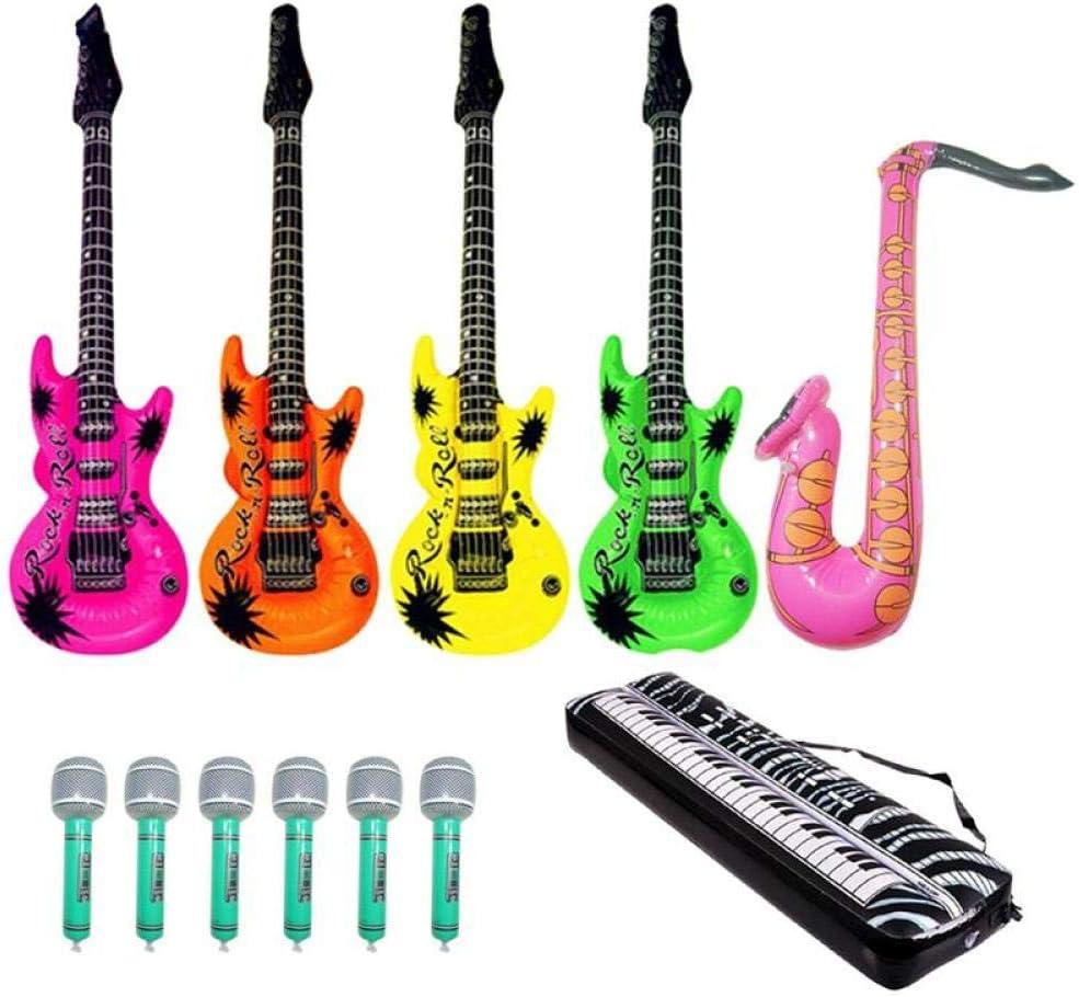 JNFGH 12 Piezas Micrófono Teclado Piano Saxofón Guitarra Papel de Aluminio Globos inflables Rock Toy Set para niños Suministros de decoración para Fiestas: Amazon.es: Juguetes y juegos
