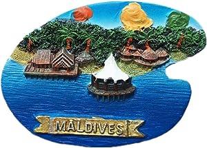 Fridge Magnet Cottages Maldives 3D Resin Handmade Craft Tourist Travel City Souvenir Collection Letter Refrigerator Sticker