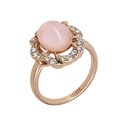 Yoursfs Halo Pink Opal Stone Diamante Rings for Women Party Fashion Jewellery 18ct Rose Gold Plated Prom Dress Statement Ring YpRWionj