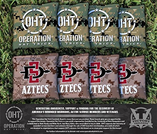 8 Operation Hat Trick San Diego State SDSU Aztecs Regulation Corn Filled Cornhole Bags