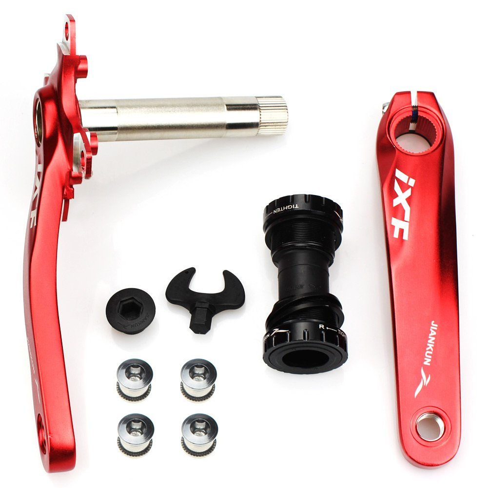 Bike Crank Arm Set CYSKY Mountain Bike Crank Arm Set 170mm 104 BCD with Bottom Bracket Kit and Chainring Bolts for MTB BMX Road Bicyle, Compatible with Shimano, FSA, Gaint (Black/Red) (Red) by CYSKY