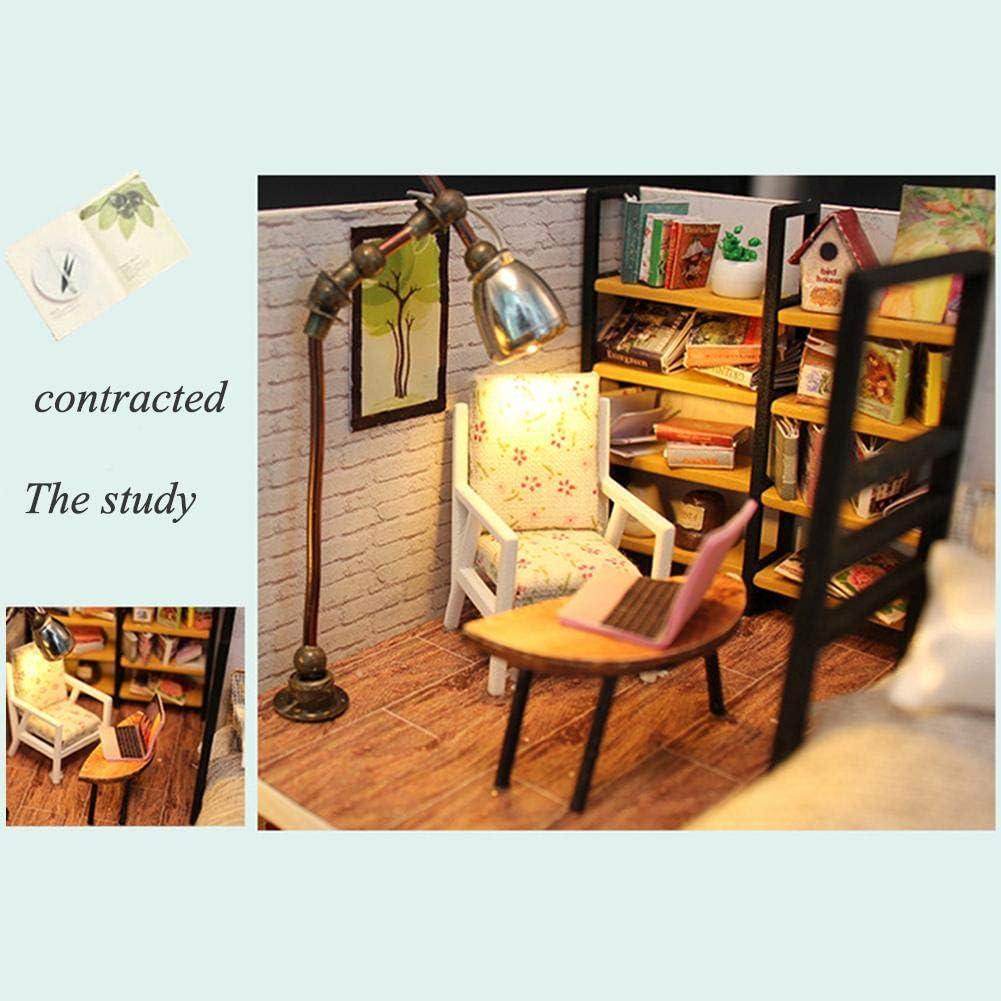 Blue Prosperveil DIY Dollhouse Miniature Kit 3D Wooden Apartment Dolls House Furniture with LED Light Handmade Doll House Craft Kids Birthday Gift
