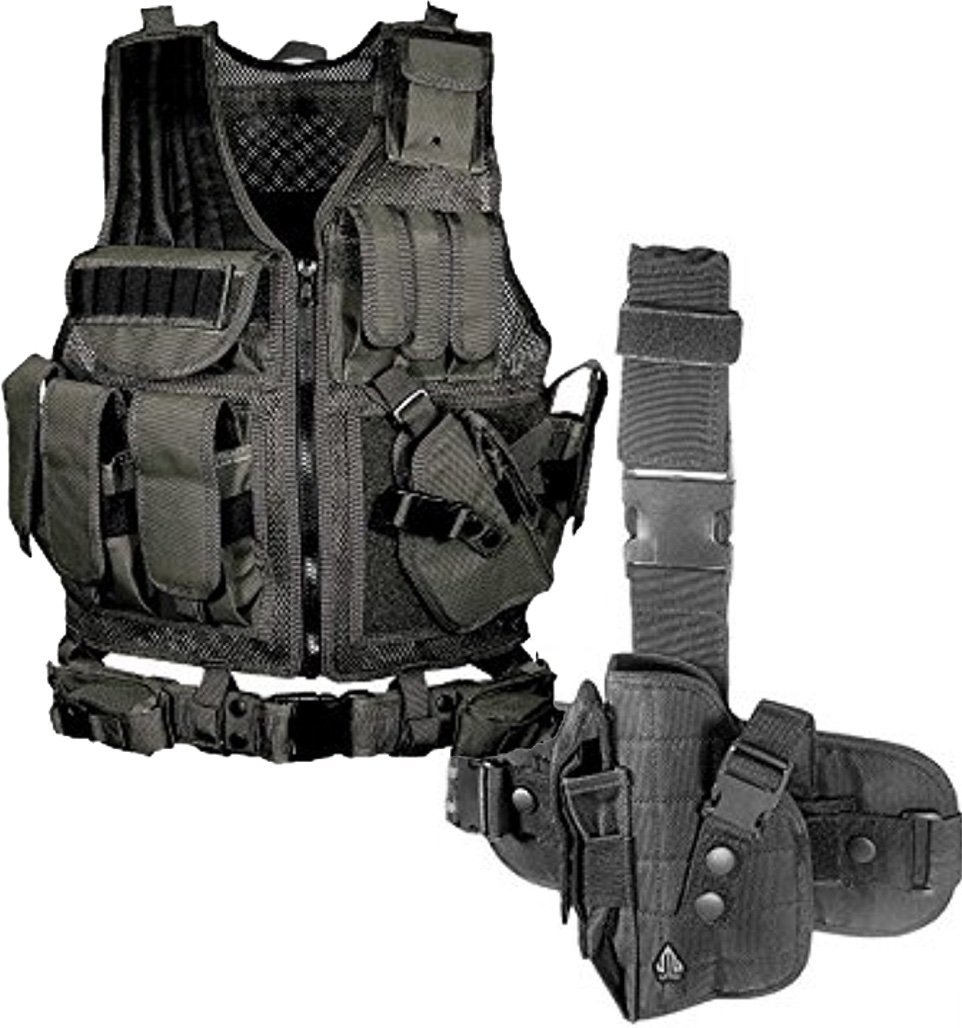 Bundle Includes 2 Items - UTG 547 Law Enforcement Tactical Vest, Black and UTG Special Operations Universal Tactical Black Leg Holster - Gen II by UTG and UTG