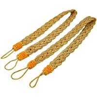EleCharm 1 Pair Simplicity Knitted Curtain Rope Braided Satin Rope Drape Tie Back