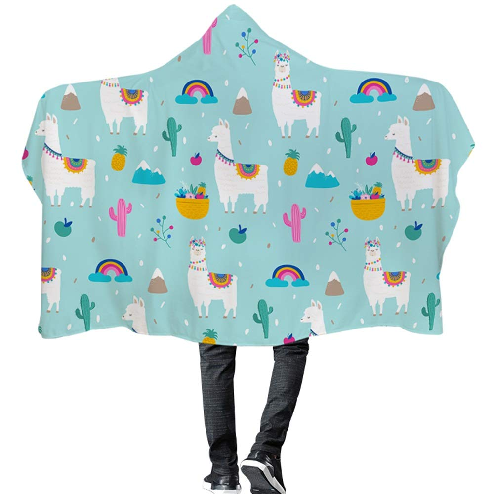 Wearable Hooded Blanket Cute Alpaca Cartoon Llama Cactus Pink Green Super Soft Digital Print Hooded Throw Wrap Premium Fleece Warm Throw Blanket Hooded Cloak for Adults and Children by Frank Home