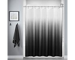 Black Shower Curtain, Polyester Ombre Bath Shower Curtains for Bathroom, Textured Fabric Waterproof Shower Curtain Liner with