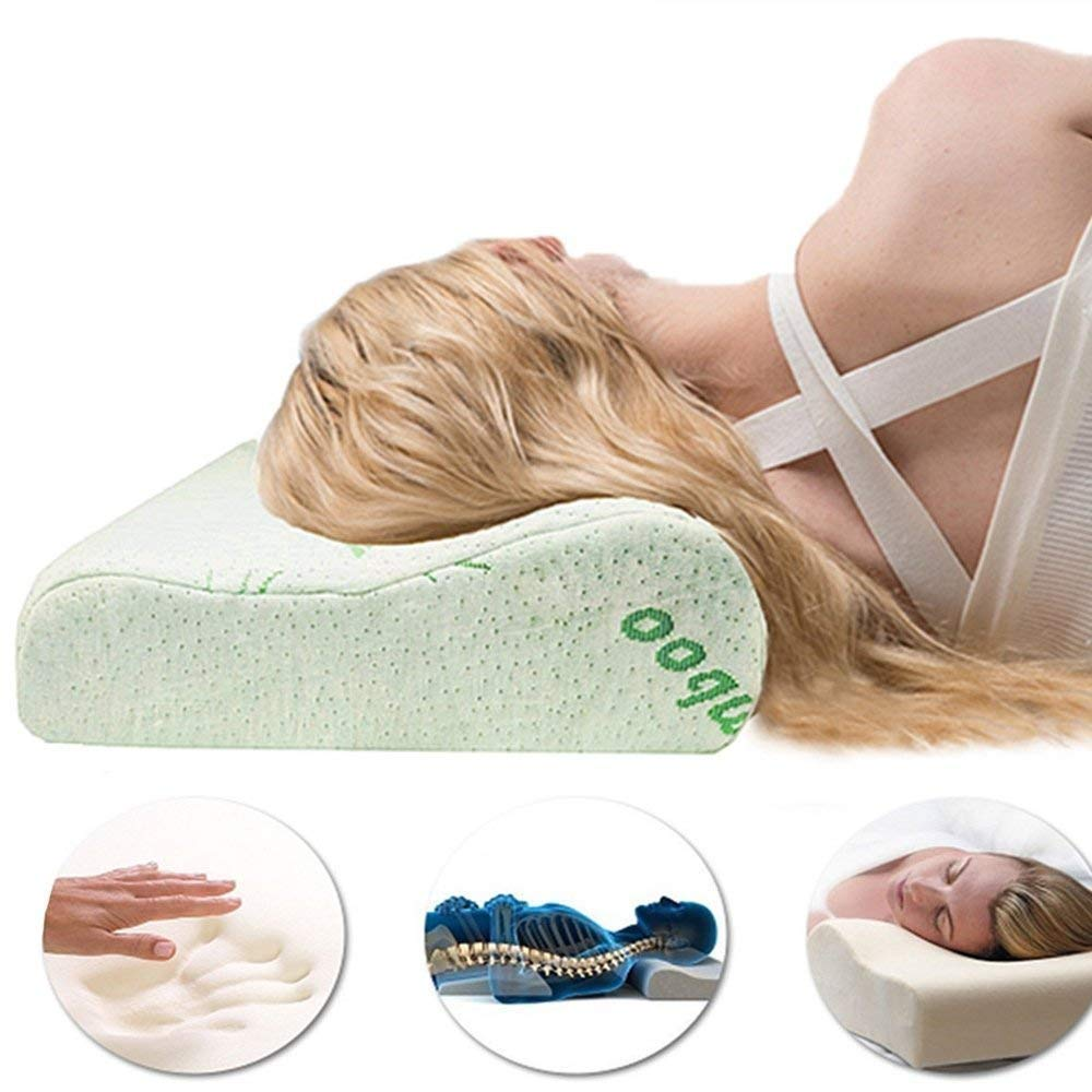 Cervical Contour Bamboo Neck Pillow - Memory Foam Chiropractic Vented Cooling Pillow - Anti Snore to Prime Soft Supportive Comfortable Washable Sleep Pillow Homely Lee