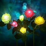 CCJK Solar Flower Lights, Outdoor Decorative Rose Flowers LED Lights ,3 Pack Waterproof Solar Stake Lights with 6 Roses Flowe