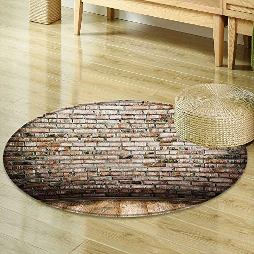 Round Rug Kid Carpet Rustic Ancient Room Interior with Wood Floor Vintage Faded and Stained Brick Print Multi Home Decor Foor Carpe R-47