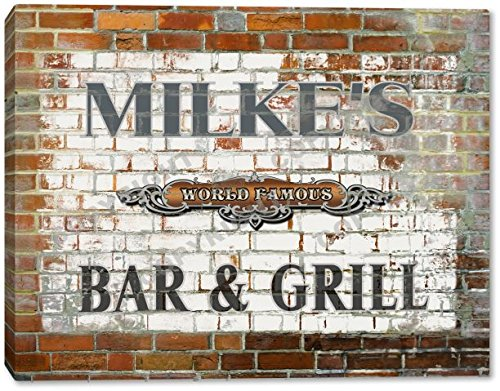 MILKE'S World Famous Bar & Grill Brick Wall Stretched Canvas Print