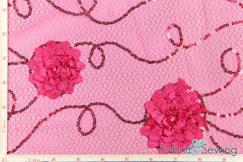 Fuchsia Pink Large Flower Sequined 3D Lace Fabric Polyester 48-50