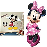 RoomMates Mickey Mouse Peel and Stick Giant Wall Decal AND RoomMates Minnie Bow-Tique Peel and Stick Giant Wall Decal