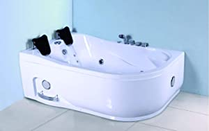 2 Person Computerized Massage Hydrotherapy Left Corner White Bathtub Tub Whirlpool with Bluetooth, Remote Control, Inline Water Heater, and 22 Total Jets