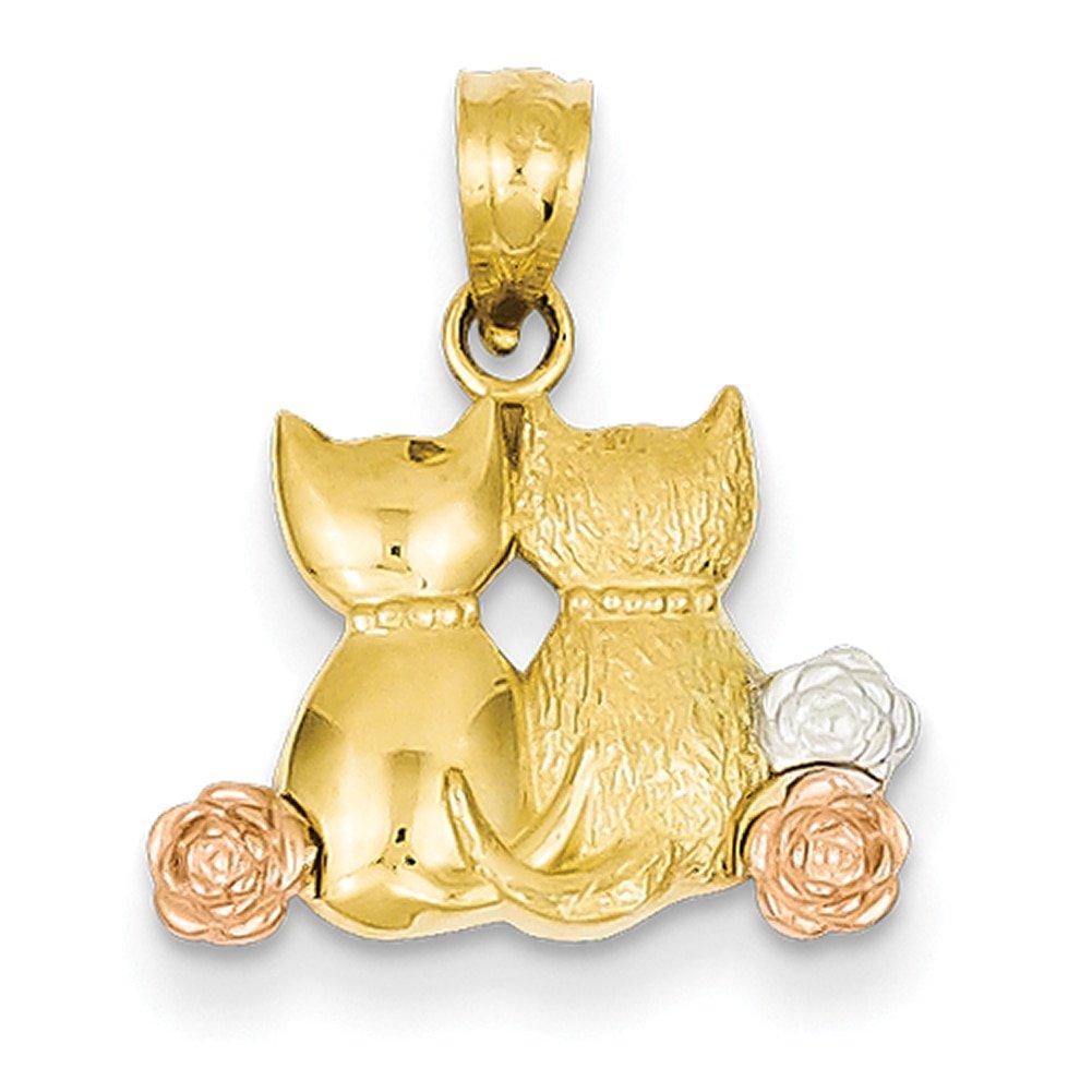 Lex /& Lu 14k Yellow Gold /& Rhodium Cats Pendant