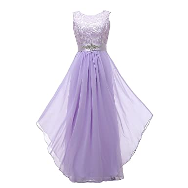 Grace Lee Womens Long Evening Gowns Lace Round Neck Prom Dresses (M,Lavender)