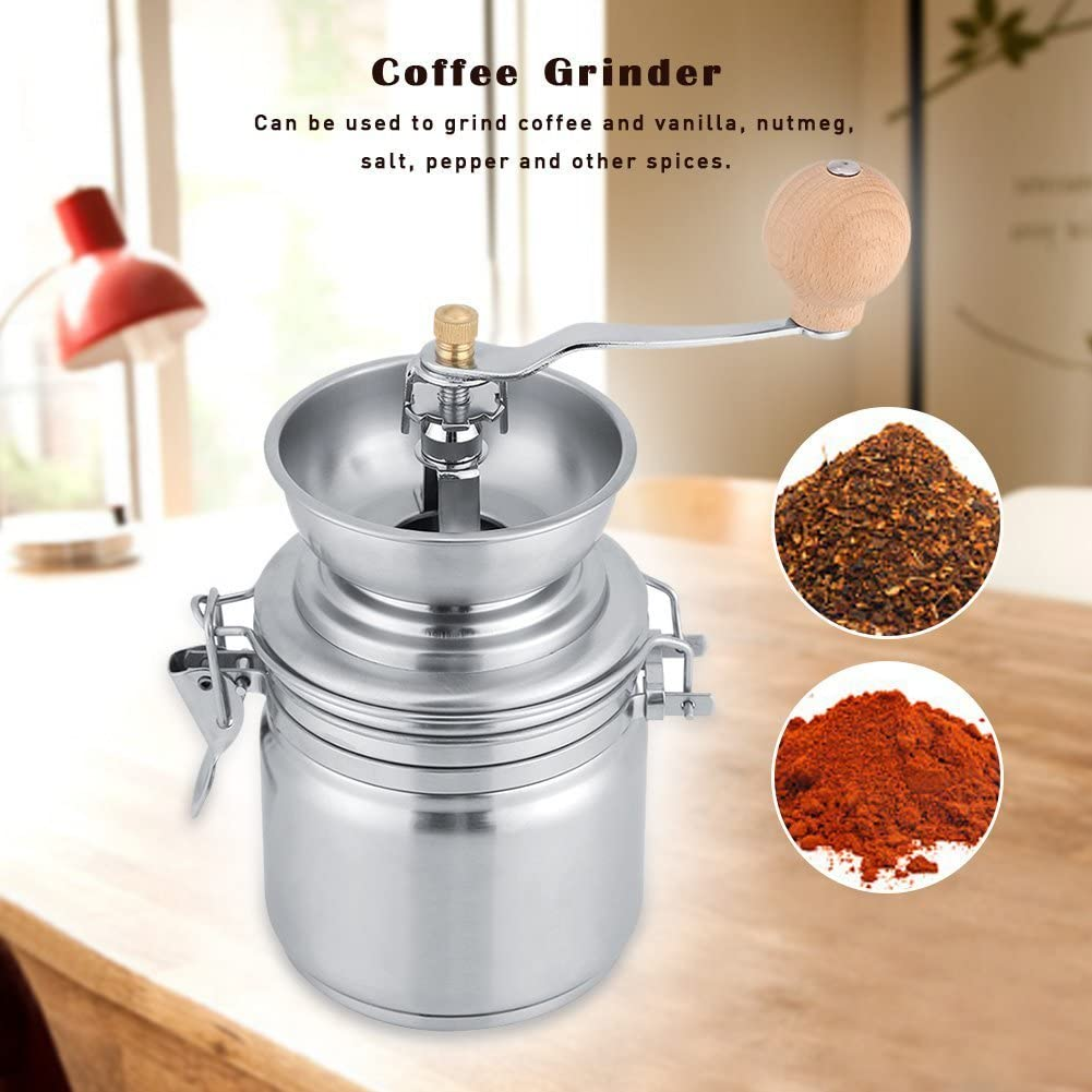 VBESTLIFE Edelstahl manuelle Kaffeem/ühle,M/ühlen Handwerkzeug,f/ür Kaffeebohnen Silber N/üsse Kr/äuter Samen Gew/ürze K/ürbiskerne usw.
