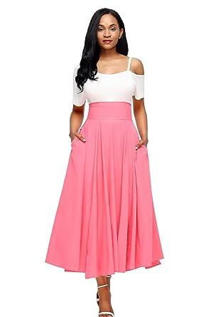 6d94c7220e11 Boldgal Women's Western Wear High-Waist Pleated Maxi Skirt at Amazon ...