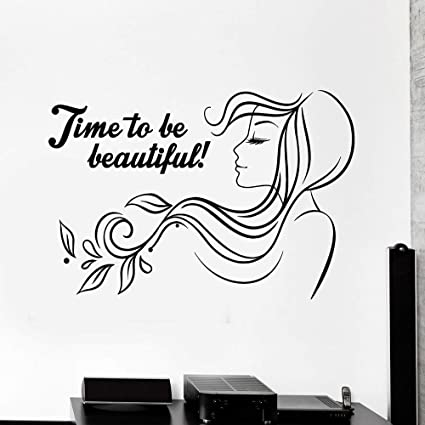 wukongsun Time Beautiful Vinyl Wall Decal Beauty Salon Woman Hair Salon Sticker Mural Autoadhesivo Adhesivo Negro 86X57 CM: Amazon.es: Hogar