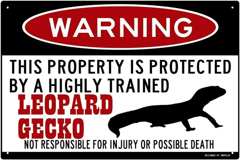 FemiaD Leopard Gecko Sign,Funny Metal Signs,Leopard Gecko Gift,Gecko Accessories,Lizard Warning Sign Aluminum Metal Sign 8 X 12 Inches