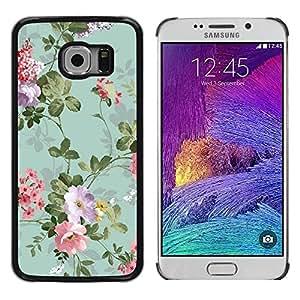 Cubierta protectora del caso de Shell Plástico || Samsung Galaxy S6 EDGE SM-G925 || Flowers Vintage Old Teal @XPTECH