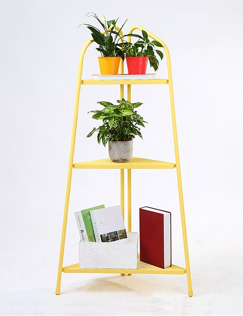 LB huajia ZHANWEI Blumentopf Regal Eisen Bodenart 3 Schichten Blumenregal europäischer Stil Einfach Innen- draussen Regale (Farbe : Gelb, größe : 46.5cm*104cm)