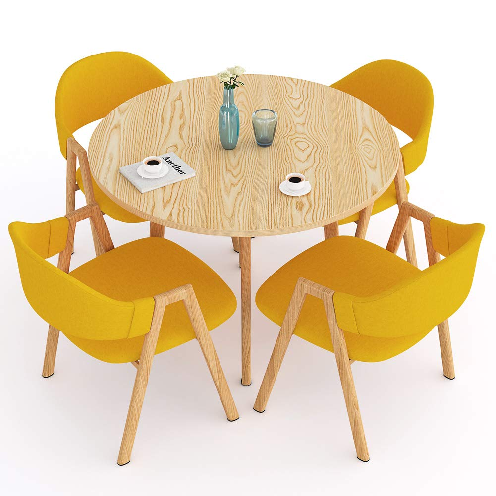 LITTLE TREE Dining Table Set, Modern Round Kitchen Table and 4 Dining Chairs Set for 4 Person, Kitchen Table Set with Metal Frame for Home Furniture, ...