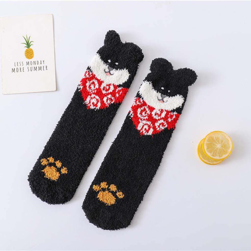 HZSIKAO Calze Sock Cuccioli di corallo invernale da uomo e da donna e calzini da casa in velluto per dormire a caldo Beautyjourney