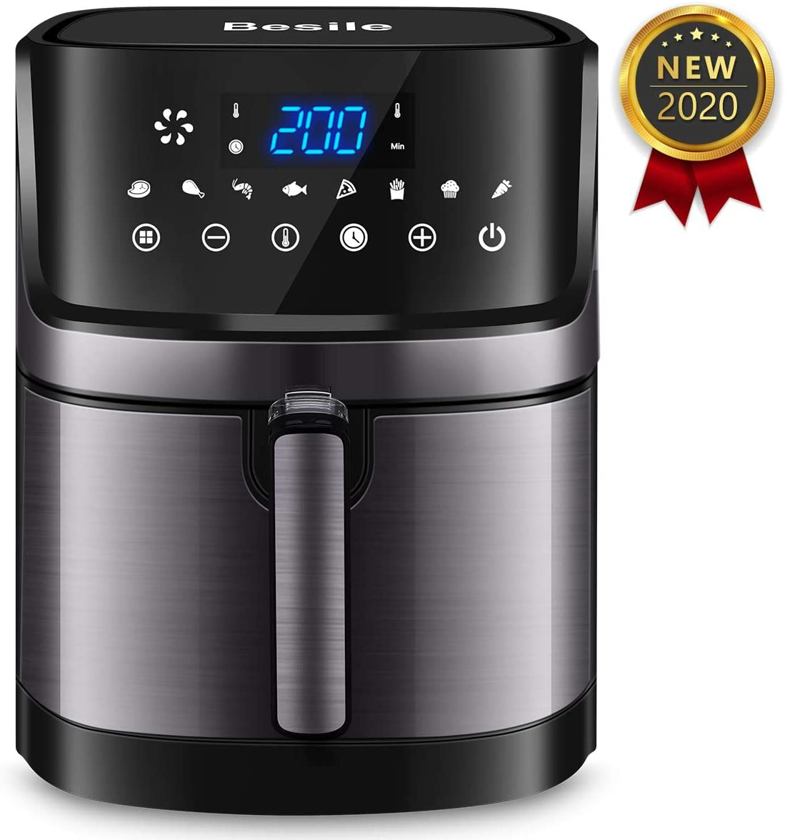 Besile Air Fryer XL5.8 Quart,1700-Watts Stainless Steel Hot Air Fryer Oven, LED Digital Touchscreen with 8 Cooking Presets,Nonstick Square Basket