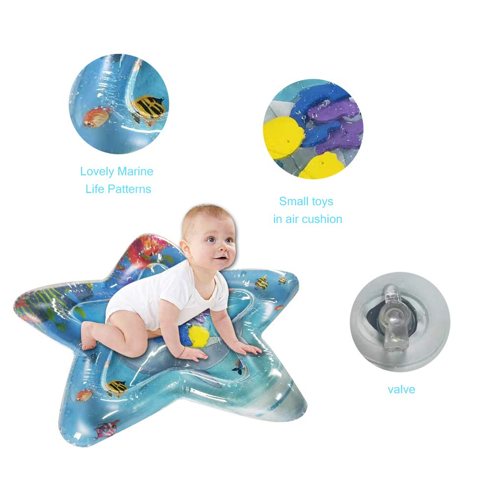 blue heart 65x60cm Decdeal Inflatable Baby Water Mat Infant Tummy Time Playmat with Manual Inflator Pump Random Color Size and Color Optional