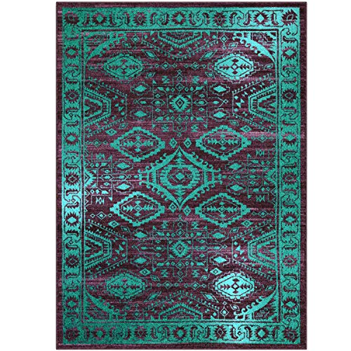 Maples Rugs Area Rug - Georgina 5 x 7 Large Area Rugs [Made in USA] for Living Room, Bedroom, and Dining Room, Winberry/Teal (Teal Rug And Area Purple)