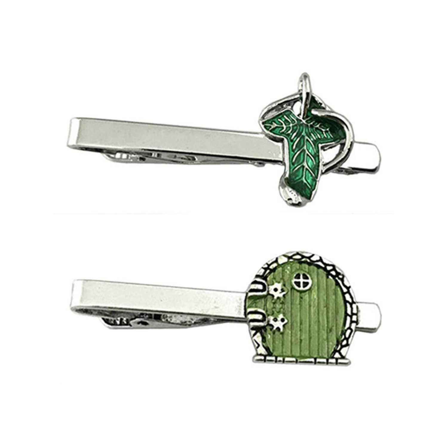 Outlander Lord of the Rings - Elven Leaf & Hobbit Door - Tiebar Tie Clasp Set of 2 Wedding Superhero Logo w/Gift Box