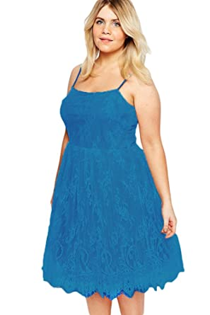Women s Blue Plus Size Sleeveless Lace Fit and Flare Skater Dress 3b17953e8
