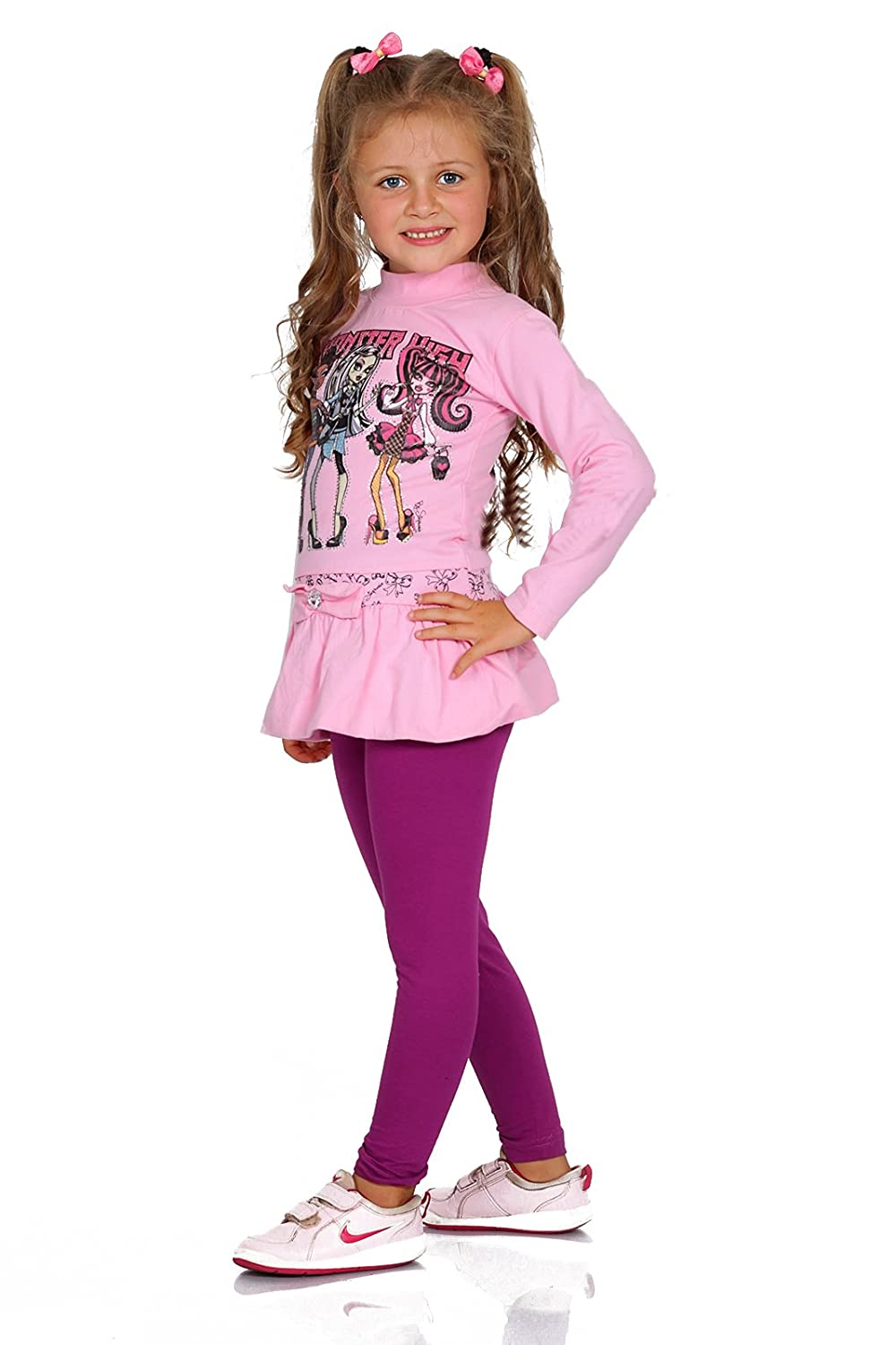 Futuro Fashion Full Length Cotton Girls Leggings Plain Pants for Kids Amaranth Leggings Age 6