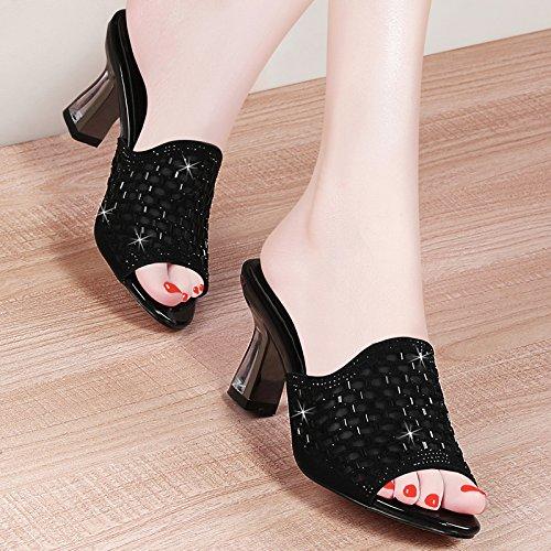 Palabra Pretty 6Cm Joker Zapatos Medio Diamante mujer de black Drag Tacon Zapatillas Cool KPHY Arrastrar Zapatos Mujer De Moda PqOPd