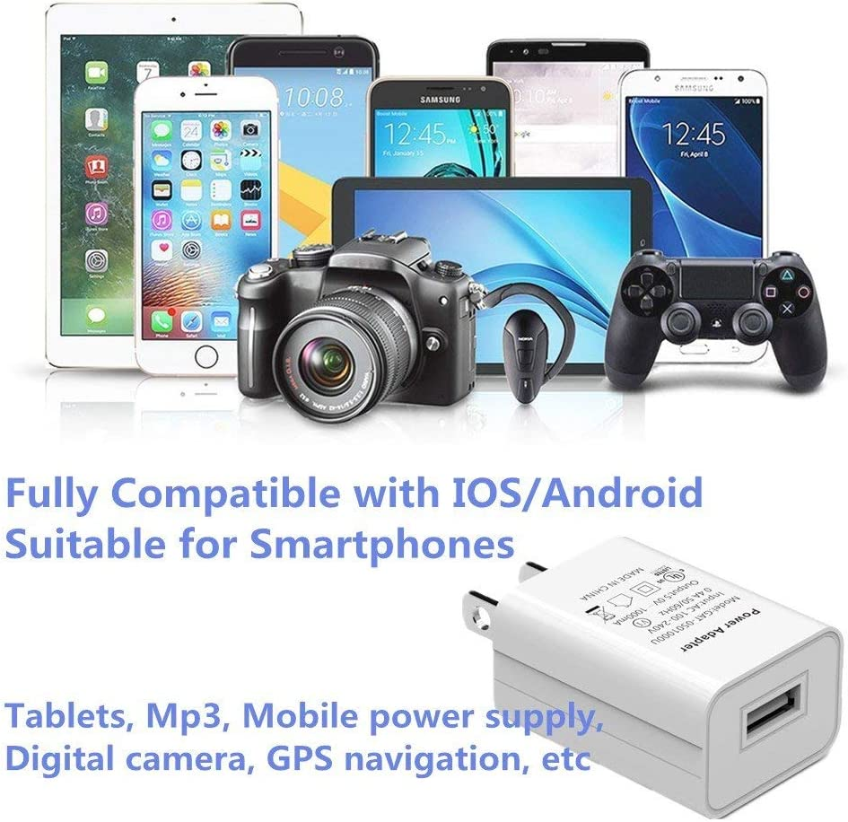 LG Samsung Galaxy S7//S6//S5 Edge LEVENUSTAR 3 Pack 5V 1A UL Certified Universal Travel Power Adapter for iPhone 7//6S//6S Plus//6 Plus//6//5S//5 USB Wall Charger for iPhone HTC