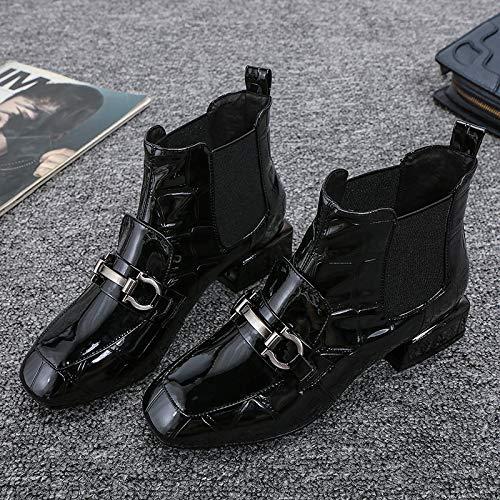 Shukun Stiefeletten Martin Schuhe Frauen Kopf Patent Leder Stiefel Frauen Flache Baumwolle Schuhe Schwarze Damenschuhe
