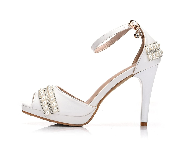 Minitoo MinitooEU-MZ8257, Sandales pour Femme - Blanc - White-11cm Heel, 34