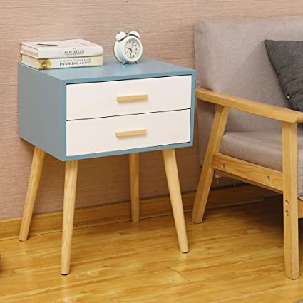 Exqui Bedside Table Wooden Bedside Cabinet With 2 Drawers Nightstand Side End Table For Bedroom Cabinet Of Drawers For Living Room G977 2blw Amazon Co Uk Kitchen Home