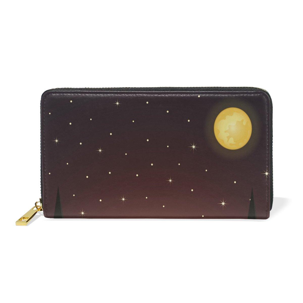Women Genuine Leather Wallet Beauty Night Zipper Purse Girl Phone Clutch