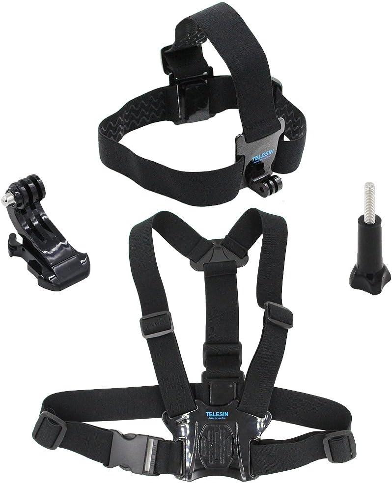 telesin cabeza correa cinturón Mount + pecho Cinturón Correa Arnés Monte + Aluminio Tornillo de mariposa + J-Hook para GoPro HD Hero4Hero3+ Hero3Hero2SJ4000, SJ5000Cámaras ajustable cinturón Moun