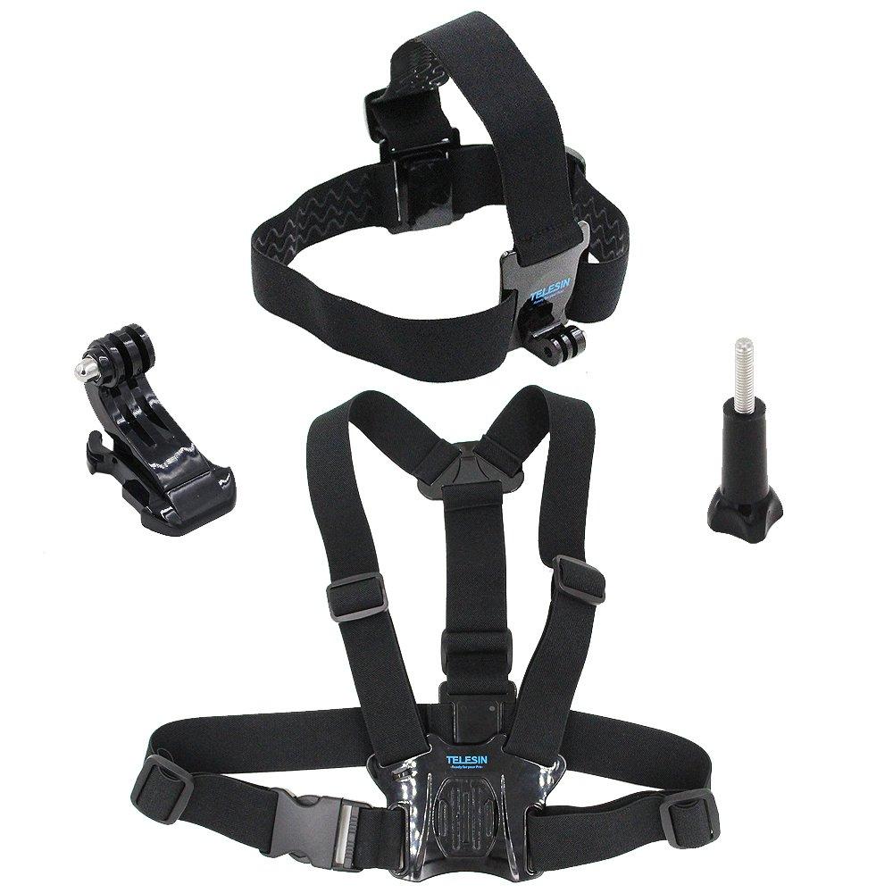 TELESIN Head Strap Belt Mount+ Chest Belt Strap Harness Mount+ Aluminum Thumbscrew+ J-hook for Gopro Hero 6/5 Black,Hero 5 Session,Hero 4 Session, Hero 4 Hero3+ Hero3 Hero2 Sj4000, Sj5000 Cameras