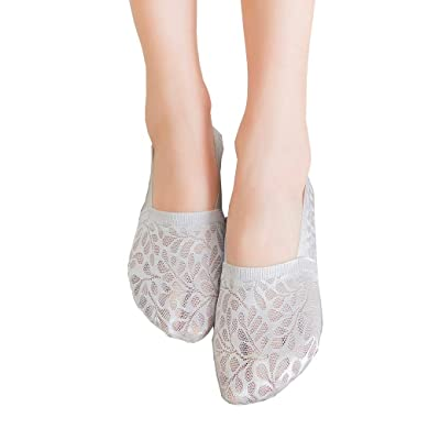 5 Pairs No Show Socks Women No Show Liner Socks Womens No Show Socks Thin Low Cut Casual Socks Lacy Bud Silk Lace Cotton: Clothing