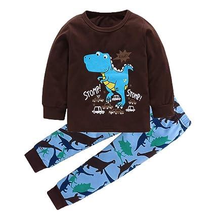 Juguetes Madera Niños Recién Nacidos Baby Boy Girl Dinosaur Print Tops Pants Conjunto De 2 Piezas