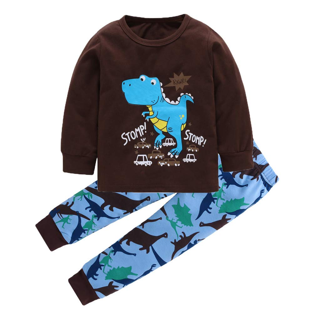Newborn Kids Baby Boy Girl Dinosaur Print Tops+Pants 2-Piece Pajama Outfits Set