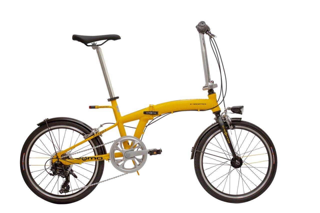クロモ(Cromo) 20インチ折りたたみ自転車 シマノ7段変速 前後ライト付き(リア:ワイヤレスウィンカー/デイライト/ソーラー充電システム搭載) PTF207W-05 YELLOW 44357 B07DJG9XBK