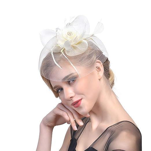 b82b1aaf471 Amazon.com  Hoshell Headwear Sinamay Fascinator Pillbox Hat Headband Hair  Clip Cocktail Tea Party Girls Women (Beige)  Clothing