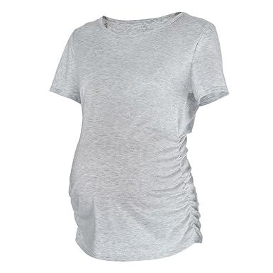 BBsmile ropa premamá Blusas con pliegues laterales clásicos Ropa de embarazo Top Blusa Camisa: Amazon.es: Ropa y accesorios