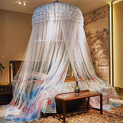 Jueven Hanging Dome Mosquito Net Luxury Bed Canopy for Twin Full Queen Size Home Bedroom Party Decor (Color : Blue)